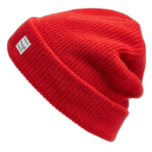 Madewell Slouchy Knit Beanie ($40) ❤ liked on Polyvore featuring accessories, hats, flame red, slouch hat, slouch beanie, red slouch beanie, red beanie and red hat