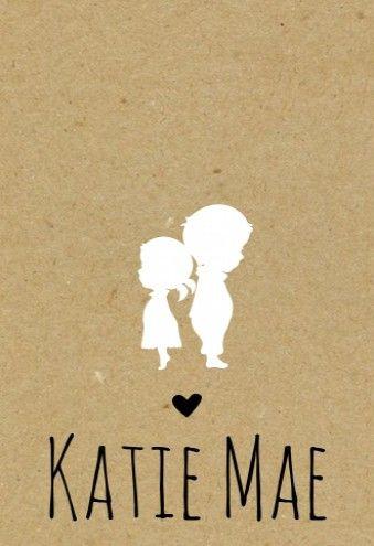 Kraft kaartje Katie met haar grote broer! Super schattig voor de geboorte van jullie tweede kindje.