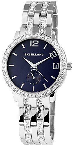 Montre analogique pour femme avec bracelet en métal et strass Bleu ... bc1e678ca70