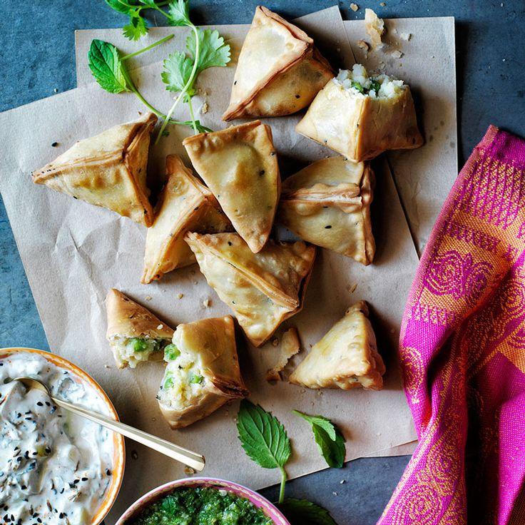 Potato and Pea Samosas with Cucumber Raita