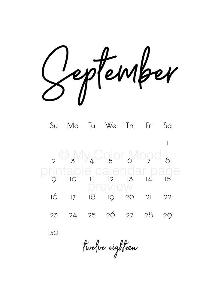 print a calendar september 2018