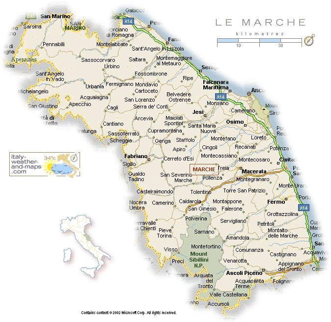 Le Marche - the Marches - Italy, map