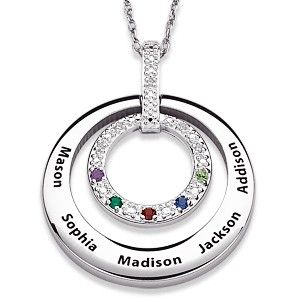 Diamond and Birthstone Necklace for Mom with up to 5 children's names. Available in gold, also.