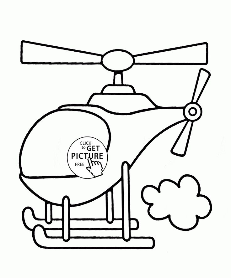 Helicopter Flying coloring page for toddlers