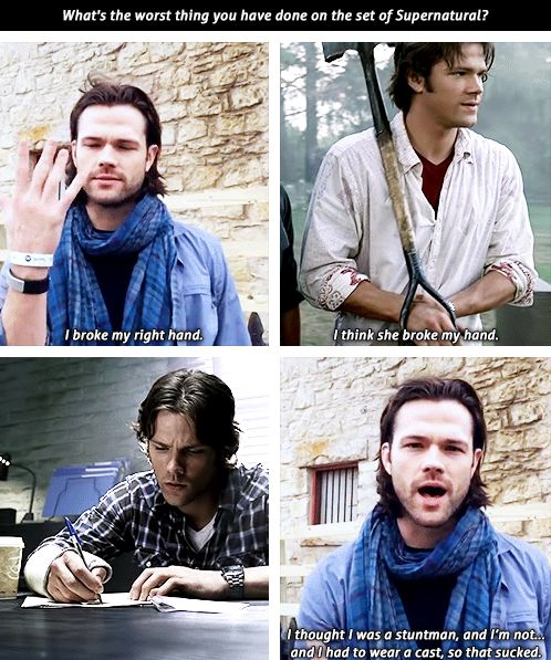 """Jared Padalecki broke his right hand as a stuntman on the set, season 2 episode 7 """"The Usual Suspects"""" cast"""