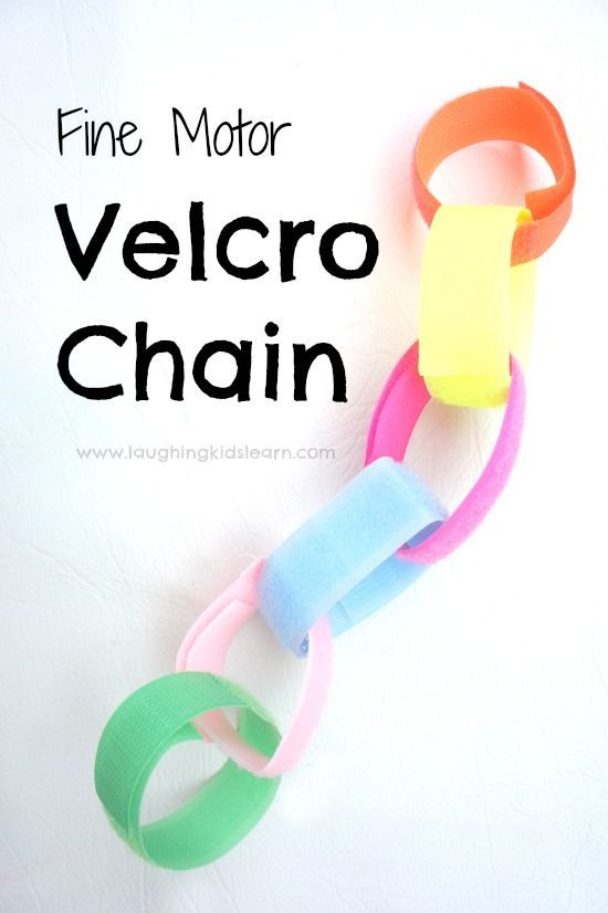 Fine motor velcro chains for kids. Great activity students with special learning and sensory needs.  No mess way to work on those fine motor issues.  Read more at:  http://laughingkidslearn.com/fine-motor-velcro-chains-for-kids