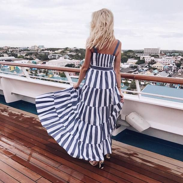 $34 Eliza J Blue Grey And White Striped Cami Strappy Rah-Rah Style Ruffle Detail Maxi Dress Tumblr