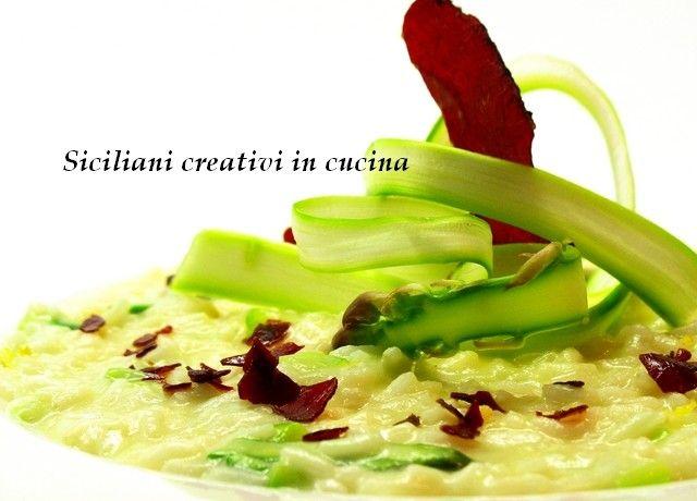 Risotto all'olio e Parmigiano Reggiano con bresaola e asparagi