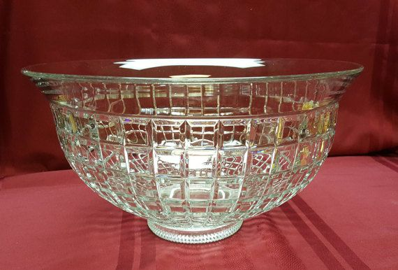 EXTRAORDINARY Vintage HEISEY Glass Victorian Punch Bowl, EXCELLENT Condition, Deep Cut Glass, Crystal look, Wedding Bridal, T.V. Movie Prop