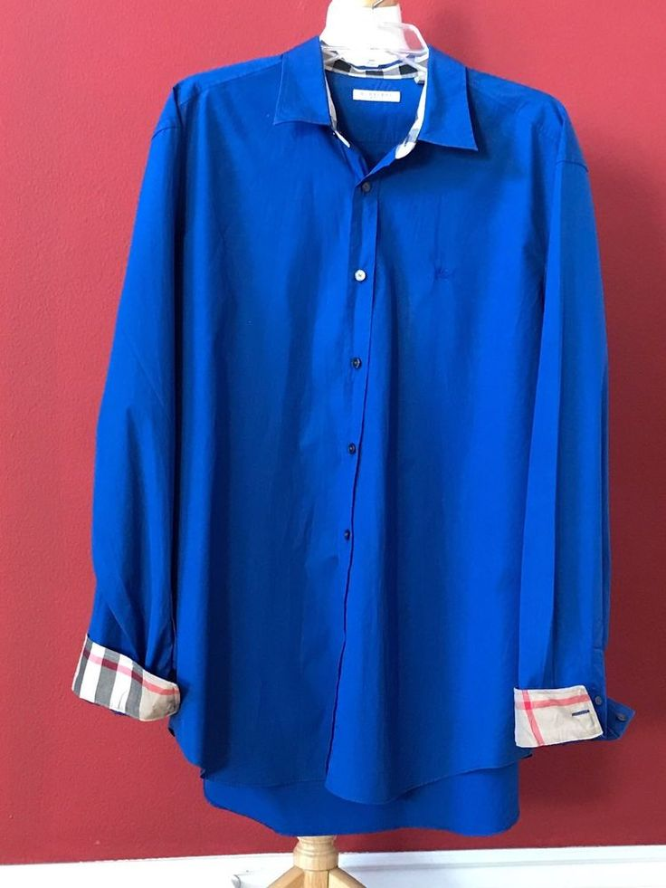 BURBERRY BRIT Men's Blue Contrast Nova Check Button Down Shirt Size XXL 2XL #Burberry #ButtonFront