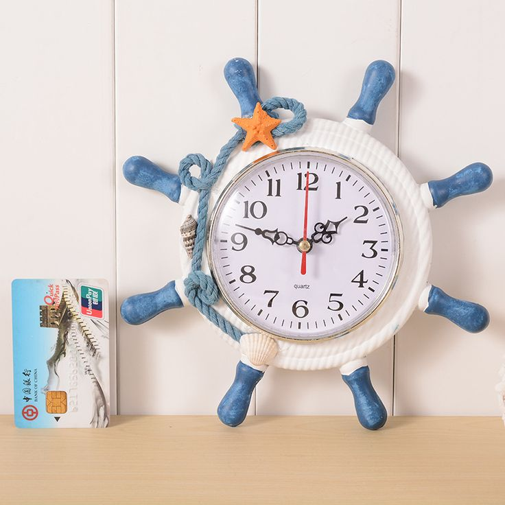 Creative wooden ship rudder alarm clock home decorative hanging clocks mediterranean style wall clock boat