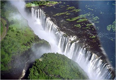 """Victoria Falls-Zimbabwe,  the largest singular waterfall in the world spanning a width of 1.7km, a height of 108m, and an average flow of 1 million liters per second! It's no wonder this """"smoke that thunders"""" is considered one of the seven natural wonders of the world and is a UNESCO World Heritage site. Indeed, it's got power, beauty, and it will make you humble and awestruck."""