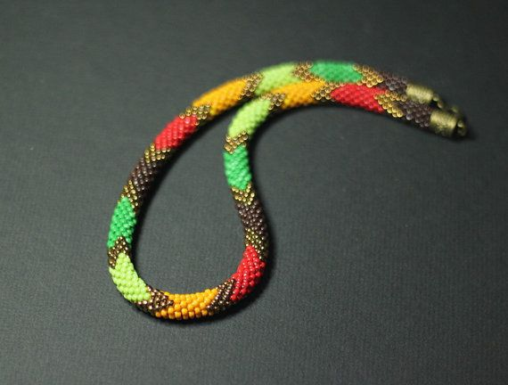 Colorful Ethnic Necklace Bead Crochet Rope by HeriniaJewelry