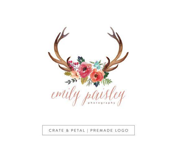 Premade Logo Design - Deer Antlers Logo - Vintage Flower Logo - Photography Logo - Small Business Logo (002)