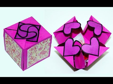 DIY paper crafts idea - Gift box sealed with hearts - a smart way to present your gift / Julia DIY - YouTube