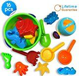 Sand Bucket Baby Beach Toys Set, Small 16 Pcs with Convenient Zippered Bag Pool Water Table & Kinetic Sand Molds. Best Tub Bath Toys for Toddlers, Outdoor Creativity for Kids + Funnel & Hand Tools