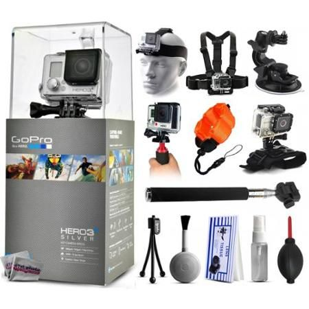 GoPro HERO3+ Hero 3+ Silver Edition Camera with Headstrap + Chest Harness Mount + Car Suction Cup + Handgrip Stabilizer + Floaty Strap + Wrist Glove Strap + Selfie Stick + Tripod + Cleaning Kit - Walmart.com