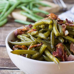 Southern-Style Green Beans This image courtesy of spicysouthernkitchen.com These flavorful green beans are cooked low and