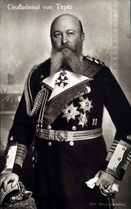 Grossadmiral Alfred von Tirpitz --- Alfred Peter Friedrich von Tirpitz (March 19, 1849 – March 6, 1930) was a German Admiral, Secretary of State of the German Imperial Naval Office, the powerful administrative branch of the German Imperial Navy from 1897 until 1916.