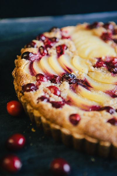 Cranberry Pear Tart with Almond Cream  -  FILLING  -  6 T. unsalted butter at  room temperature...2/3 c. sugar...3/4 c. ground blanched almonds...2 t. all-purpose flour...1 t. cornstarch...1 large egg...1 t. pure vanilla extract...1/2 t. ground cinnamon...1/4 t. ground cardamom
