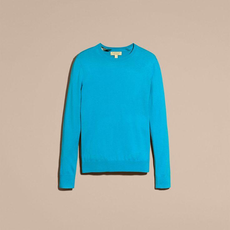 Pull léger à col ras du cou en cachemire avec éléments à motif check Bleu Mineral Vif | Burberry