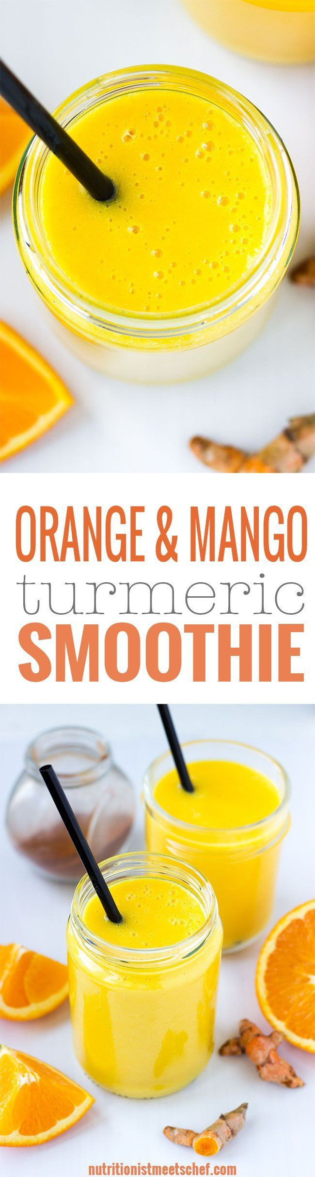 Orange Mango Turmeric Smoothie! Immune boosting smoothie that is full of nutrients and flavour! Get the recipe at nutritionistmeets...