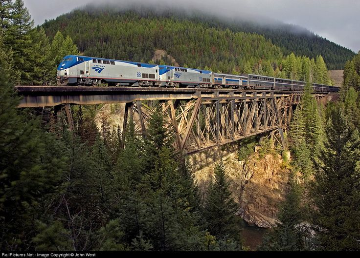 Amtrak - Empire Builder traveling through Glacier National Park near Izaak Walton Inn.  Awesome views!!