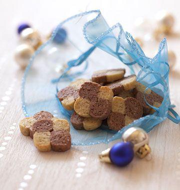 Petits sablés damiers vanille chocolat – Biscuits bredele alsaciens Noël - les meilleures recettes de cuisine d'Ôdélices
