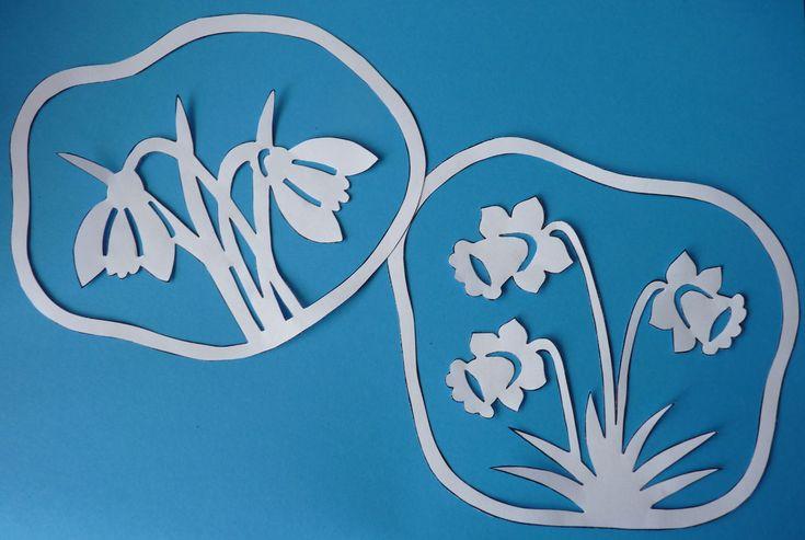 Jarné vystrihovačky na okno - filigrány - narcisy, tulipán, snežienky, sliepočka.