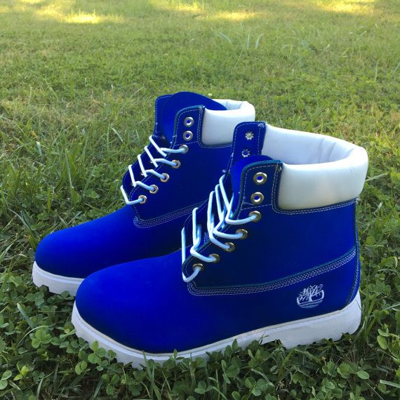 Custom Blue and white Timberlands by SpikedCons on Etsy