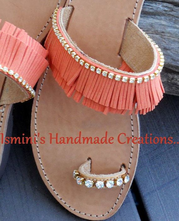 Handmade Greek Leather Sandals by IsminisJewelryStore on Etsy, €43.00
