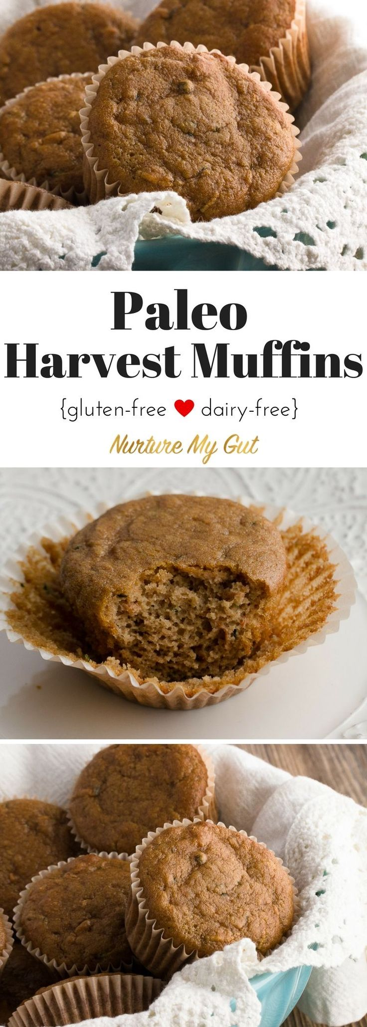 These delicious Paleo Harvest Muffins are a healthy, veggie packed grab-n-go snack for anytime of the day. These Paleo Harvest Muffins are made with freshly grated zucchini, carrots and apple. If you are trying to get your kids to eat more vegetables, I suggest you try this recipe! Gluten-free, grain free and dairy free.