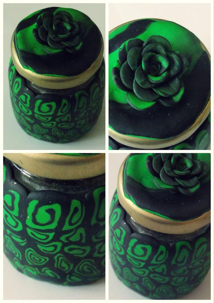 green black fimo jars
