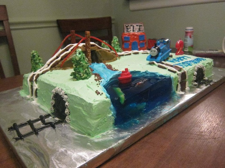 Train Birthday Cake Lake Was Jello With Gummy Fish Bridge Was Cake W Pretzel And