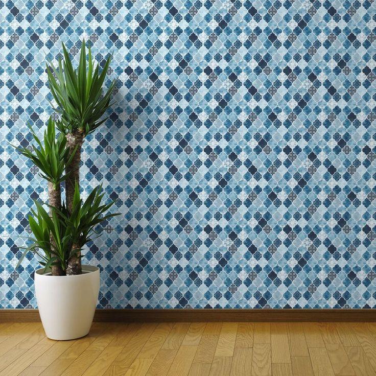 Moroccan Tile Wallpaper Moroccan Trellis By Adenaj Blue