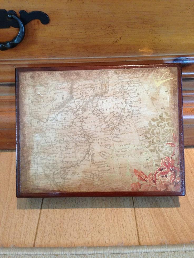World Map Repurposed Cigar Box Jewlry Box