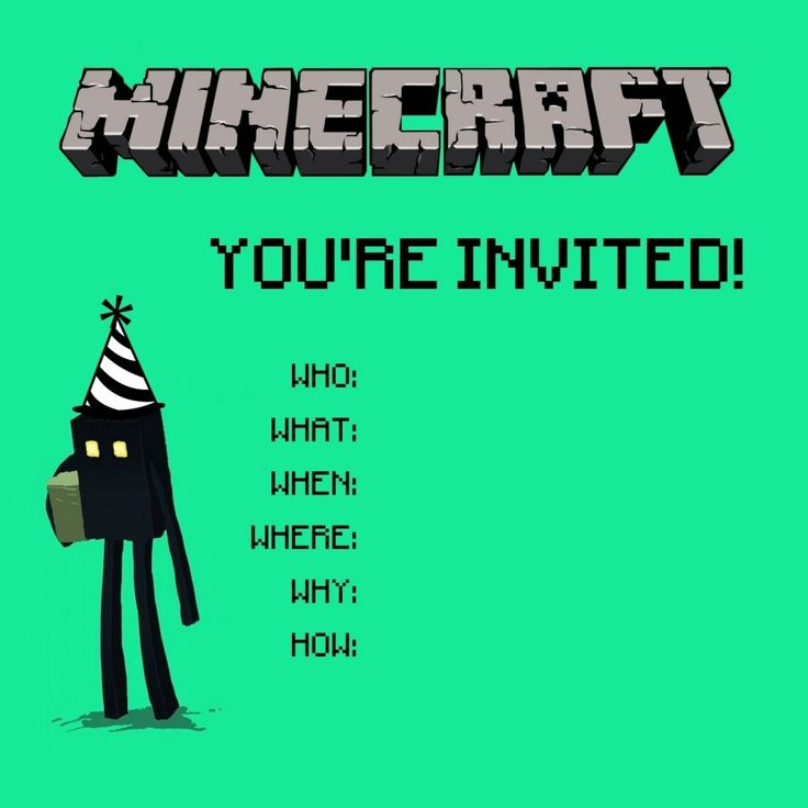 Cute Invite For Minecraft Party