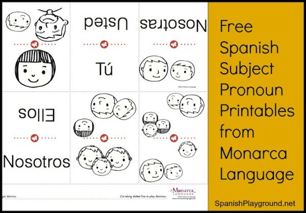 Spanish Subject Pronouns: Free Printable from Monarca - Spanish Playground http://spanishplayground.net/spanish-subject-pronouns-monarca/
