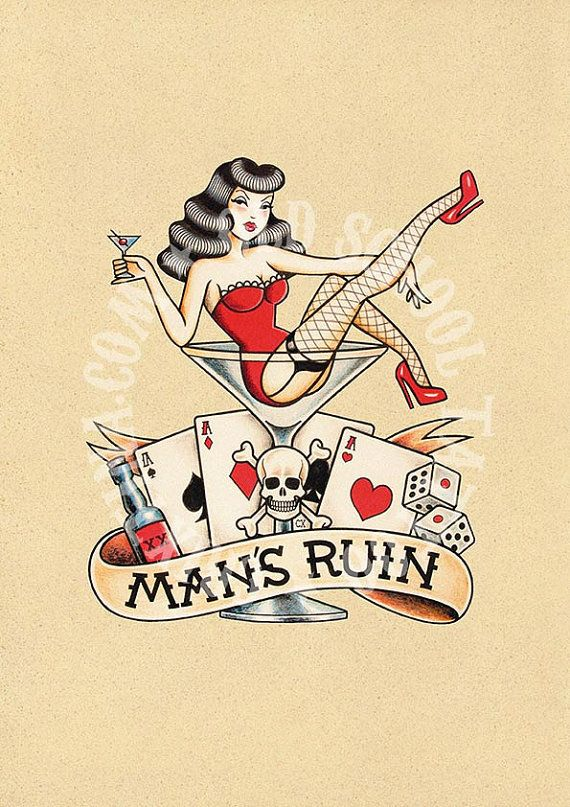 T12. THE RUIN of MEN. skull woman drink cards  Flash por Retrocrix