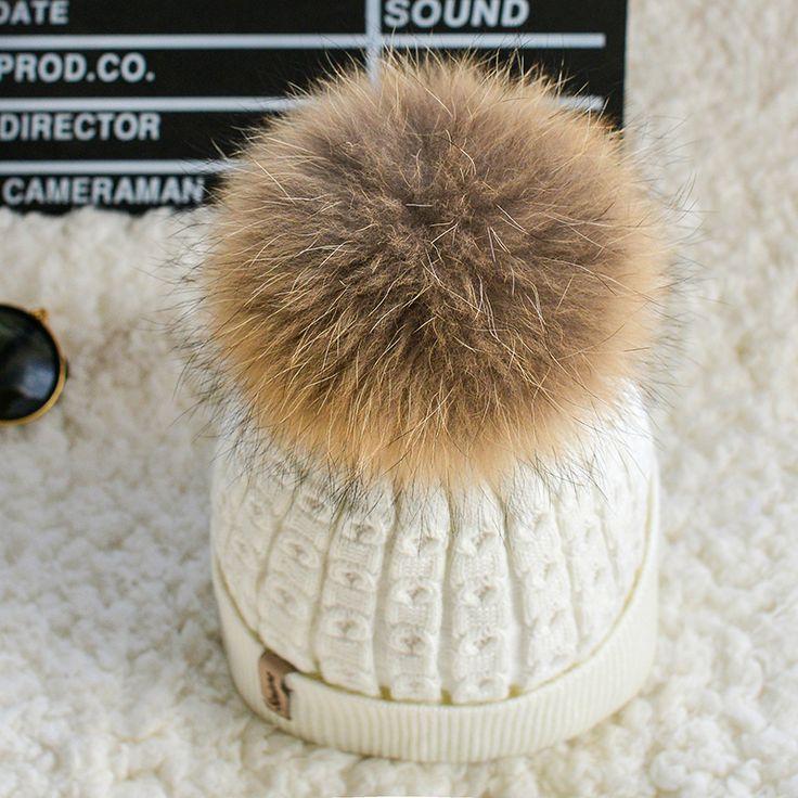 DEXING 100% real fur pompom hat inside Velvet slouchy Knitted winter hats for women mink Beanies  Knit  female Cap bonnet femme