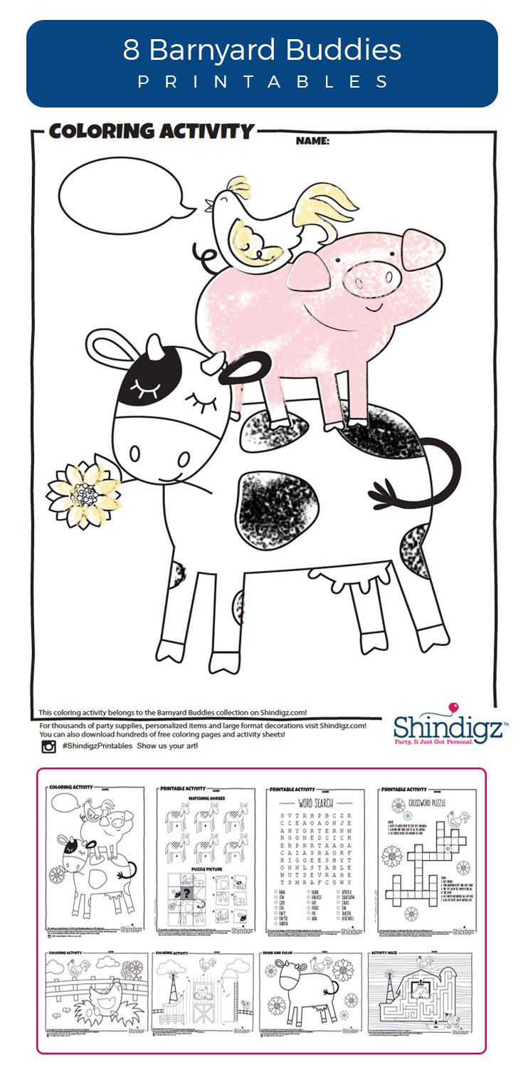 Our Farm Themed Printables are a perfect companion for the Barnyard Buddies party theme, or as a stand-alone rainy day activity for any little budding farmer. Farm coloring pages, barnyard puzzles and other downloadable activities are a fantastic activity for kids of all ages!