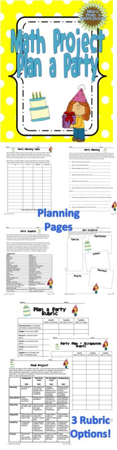 Students use real world math and critical thinking skills to plan a party with a budget. From More Than a Worksheet $$