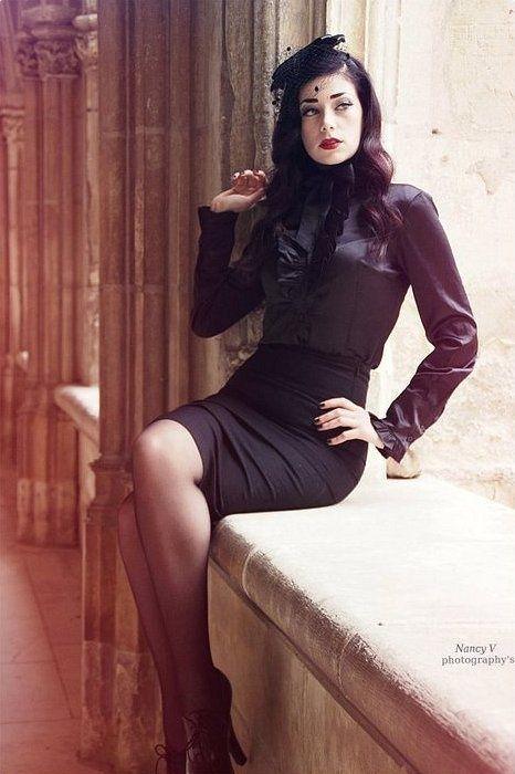 Black Pencil Skirt Black Blouse And Sheer Black Pantyhose