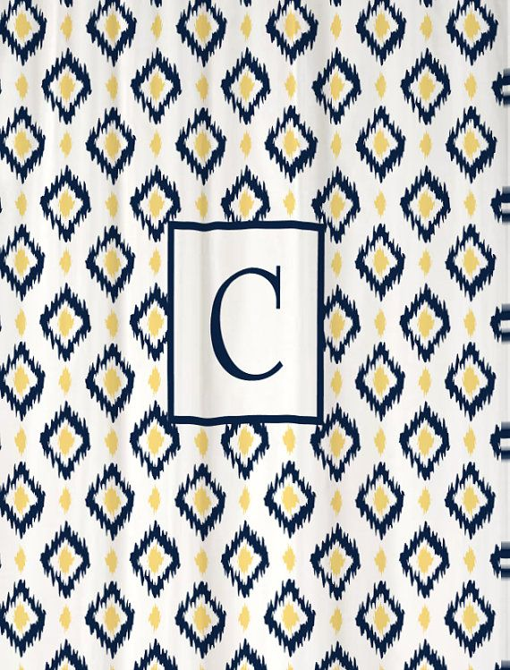 Shower Curtain Ikat Liquid Diamonds YOU CHOOSE COLORS 70, 78, 84, or 90 inch Extra Long Custom Monogram Personalized Shown Navy & Butter