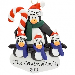 penguin single parents Be sure to include everyone on your gift giving list this year with an affordable personalized penguin christmas ornament for a single family member plus 6 kids each of the 7 penguins are all dressed up in their colorful holiday best and standing around their glittering christmas tree with a gold star on top.