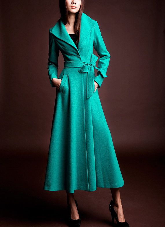 Turquoise/ Blue wool Jacket Women dress Autumn Winter Spring--CO086 on Etsy, $159.99