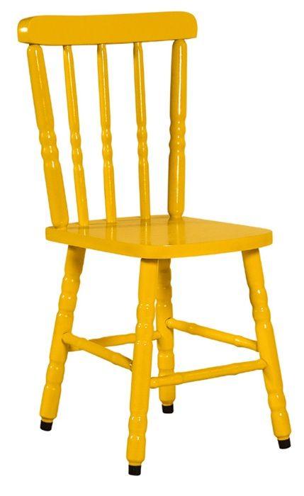 Cadeira Colonial Maciça Torneada Amarela
