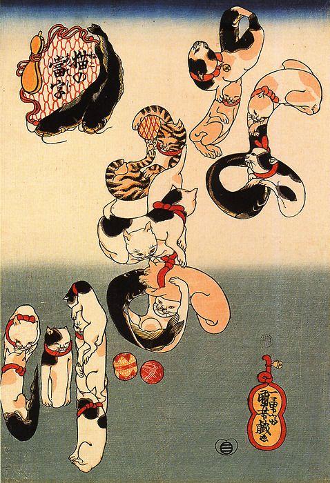 Cats, catfish kanji. Ukiyo-e. Utagawa Kuniyoshi
