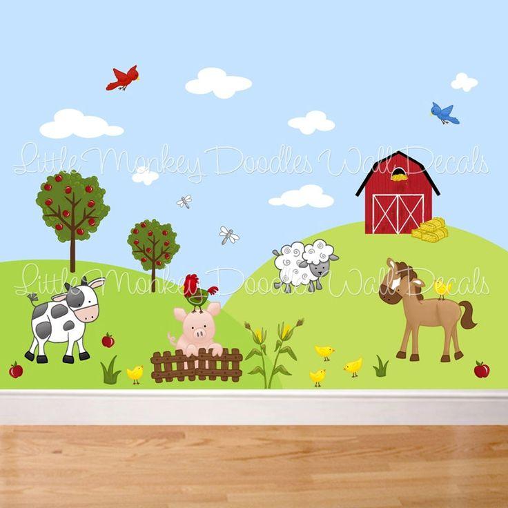 Kids Room Wall Decals Farm Wall Decals Farm Animal Decals: Fabric WALL DECALS Farm Animal Barnyard Mural Set Girls