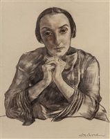 Lotte Laserstein(deutsch, 1898 - 1993) Portrait Sketch of Anna Karger, um 1933